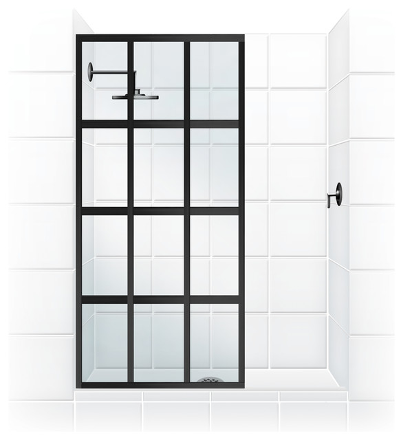 "Coastal Gridscape Series Multi-Pane ""Windowpane"" Shower Doors - Transitional - by Coastal Shower ..."