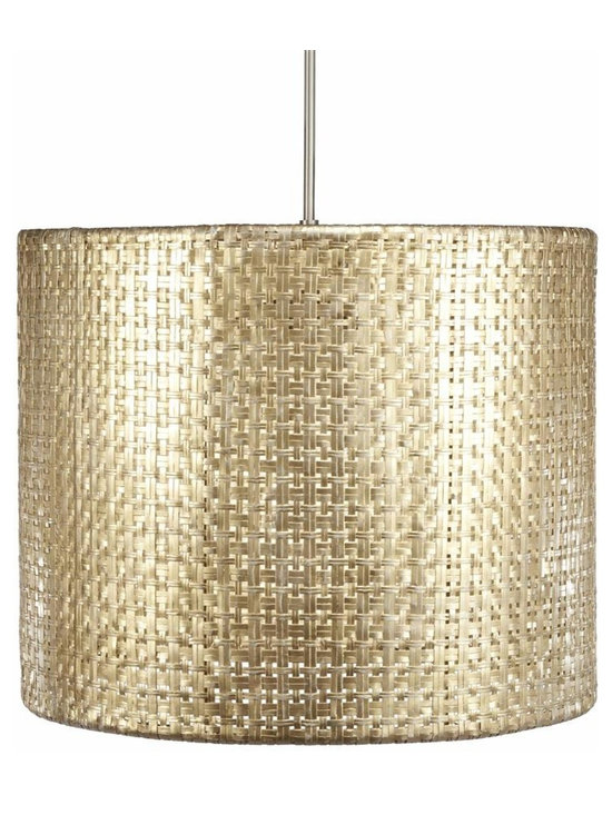 Seline Drum Pendant Light, Metallic - Hand-woven aluminum, fashioned after a draped table, is finished in a subtle metallic patina. The Selene collection comes in four styles of shades each with UL approved brushed nickle pendant kit.