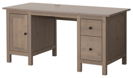 HEMNES Desk, Gray-Brown traditional-desks-and-hutches