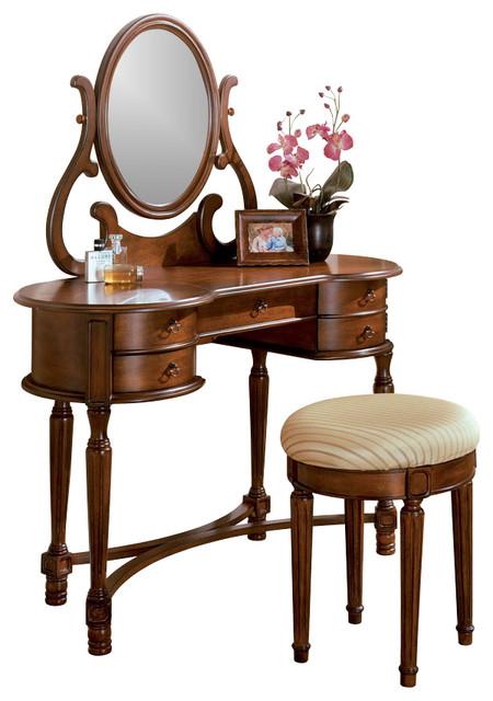 Oak Vanity Set Makeup Table Rounded Edges Drawer
