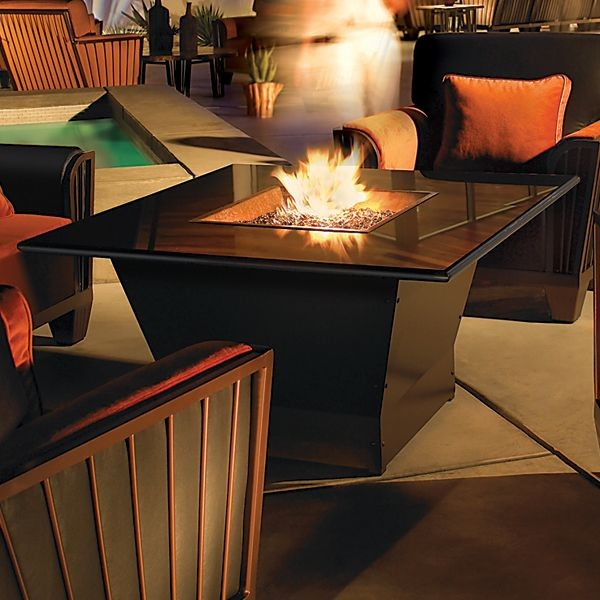 Zigguarat Square Outdoor Fire Pit Table  firepits