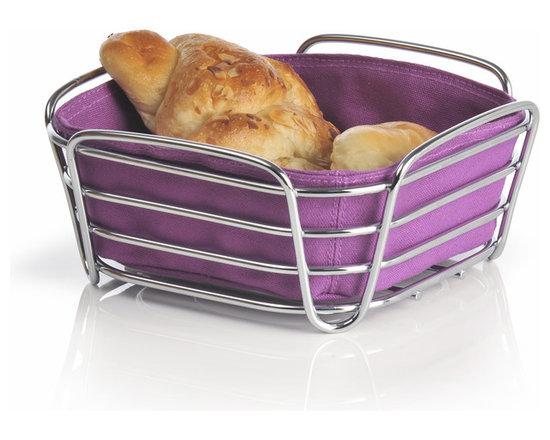 Blomus - Delara Bread Basket, Purple, Small - The Blomus Delara Bread Basket is made with chrome-plated steel and cotton fabric insert.