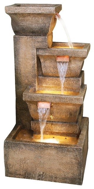 Ashboro Lighted Indoor-Outdoor Water Fountain contemporary-outdoor-fountains-and-ponds
