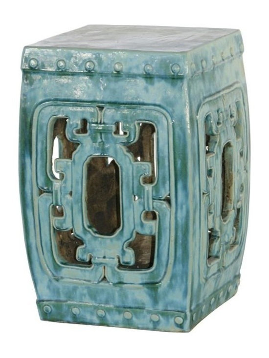 Belle & June - Square Hook Garden Stool Turquoise - This classic Chinese garden stool instantly adds an artistic element to your space. Add a touch of glamour to your bedroom, use it as a pedestal for a tall oriental vase or put it in your entryway for a mysterious Asian accent.