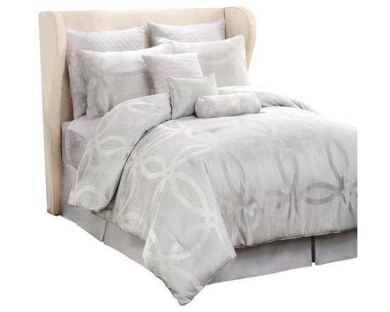 Pem America - Jacquard Sage Ring California King 10 Piece Comforter Set - The comforter set features a calming circular design that is set on a dusty sage green base. It's all about serenity and peace with this pattern, perfect for any bedroom decor.  The centerpieces of the pattern is the amazingly detailed jacquard woven cloth in an interlocking ring pattern.  The rings have additional depth with a woven organic inspired stripe design inside the rings. Includes 1 california king comforter (108x90), 1 california king coverlet (100x90), 2 euro shams (26x26), 2 standard shams (20x26), bed skirt (72x84, 15 inch drop), 1 neckroll (6x16), 1 square pillow (16x16), and 1 breakfast pillow (12x16). 100% hypoallergenic polyester face and fill. Dry clean only and spot clean pillows.