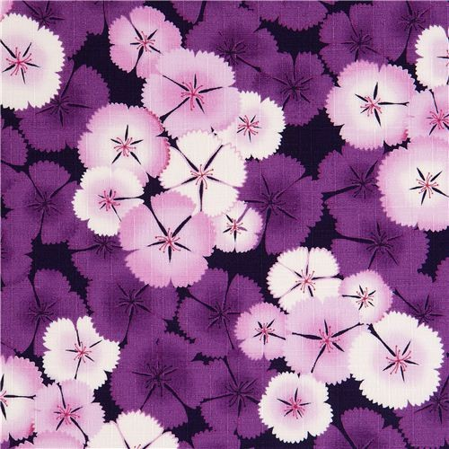 Kokka Fabric With Purple Cherry Blossoms Flower Japan