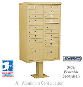 Cluster Box Unit (Includes Pedestal and Master Commercial Locks)-16 A Size Door modern
