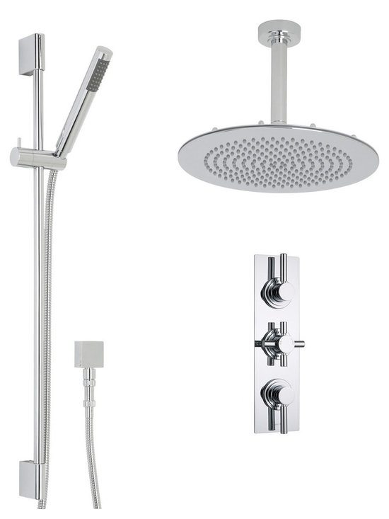 """Hudson Reed - Tec Thermostatic Shower System with 12 Round Ceiling Head & Handshower - Supplied with the 12 round shower head and arm, slide rail kit with easy clean handset and the triple thermostatic shower valve, the Tec shower system from Hudson Reed will add modern style to any bathroom. Made in Great Britain from solid brass, the durable thermostatic shower valve features a built-in anti-scald device for a safer showering experience, as well as ceramic disc technology for smoother control. Hudson Reed Thermostatic Triple Shower Valve Details   Solid brass rough-in valve Made in Great Britain Serviceable check valves and strainers Ceramic Disc Technology Pre-set maximum temperature 104ºf Automatic anti scald device Recommended pressure for best performance 2 to 75 psi  ½ NPT Inlets and Outlets Compatible with standard US plumbing connections Compatible with combi boilers, gravity fed systems, unvented mains pressure systems and for shower pumps Warranty: 10 years  Hudson Reed 12 Round Shower Head Details   IAPMO Approved 1/2 NPT inlets Chrome finish Easy clean nozzles 9.5L/min 2.5gpm regulator installed Supplied with 6 ceiling arm  Hudson Reed Linear Slide Rail Details   Chrome finish IAPMO approved Easy to fix Includes easy clean handset  Shower Consists of:     UFG-HR721Triple Valve Body Only Concealed  UFG-HRPS711Slim Triple Trim Plate (Round Flange)   UFG-HRH722Round Crosshead Temperature Handle  UFG-HRH724Round Head Flow Control Lever  UFG-HRSK701Linear Slider Rail Kit  UFG-HRFH70159"""" Double Lock  UFG-HRH1981/2 Double Check Valve Connector with DW15 Check Valves  UFG-HROE701Square Outlet Elbow  UFG-HRHS702Round Easy Clean Handset  UFG-HRSH703Round Fixed Head 12""""  UFG-HRAM704Round Ceiling Arm 6"""""""