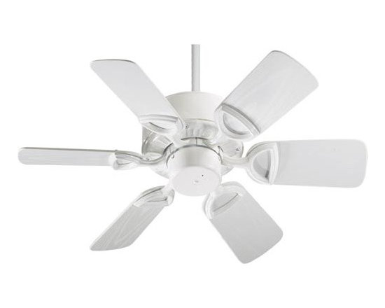 Quorum International - Estate White 30-Inch Patio Fan - -Amps: .29/.21/.09  -Fan Watts: 50/27/9  -RPM: 245/185/103  -Motor Size: 153x12  -Motor Poles: 14  -Motor Warranty: Limited Lifetime  -Motor Lead Wire: 80  -Motor Switch Type: Hi/Med/Lo/Off  -Motor Reverse Type: Slide  -Six White Blades  -Blade Sweep: 30  -Arm Pitch: 25  -Down Rods Included: 3.5 and 6  -Ceiling to Lower Edge of Blade: 10.75  -Fan Housing Width: 9.06  -Optional remote control available.  See companioned items to order. Quorum International - 143306-6