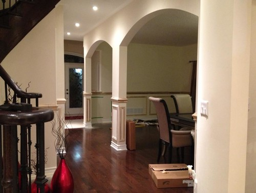 How to paint an arch without trim that separates two rooms for How to paint a room