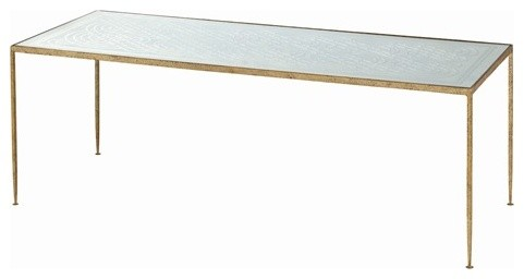 Arteriors Worthington Hammered Iron/Mirror Coffee Table contemporary-side-tables-and-end-tables