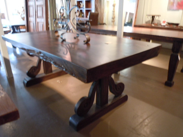 Solid slab table top with hand carved legs - mediterranean