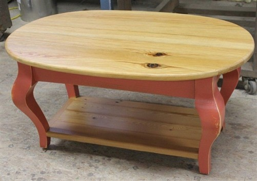 Oval coffee table from reclaimed pine farmhouse coffee for Pine farmhouse coffee table