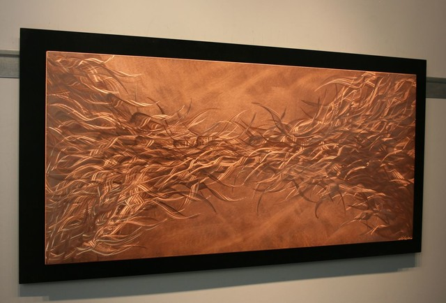 Electric Fields In Copper Metal Wall Art