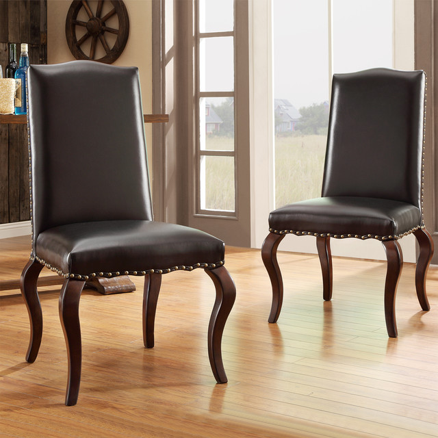 Traditional Upholstered Dining Chairs ~ Inspire q lorell brown bonded leather upholstered