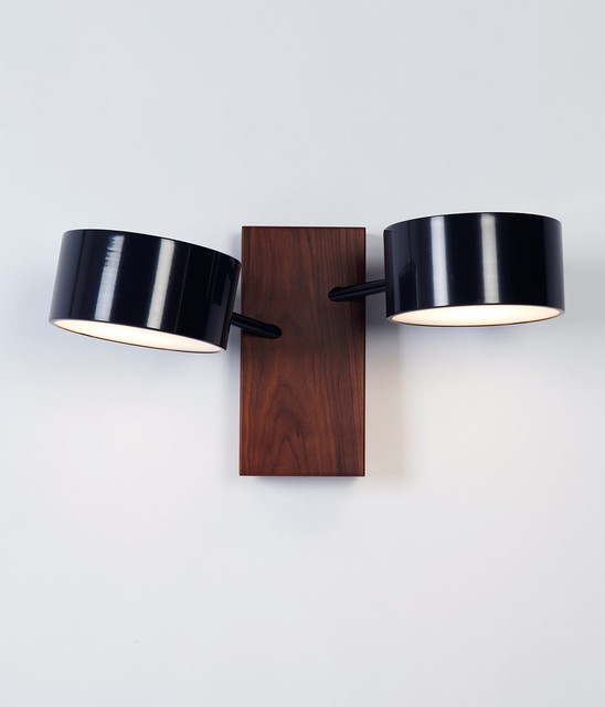 Contemporary Black Wall Sconces : Excel Double Sconce - Black - Contemporary - Wall Sconces - new york - by Roll & Hill