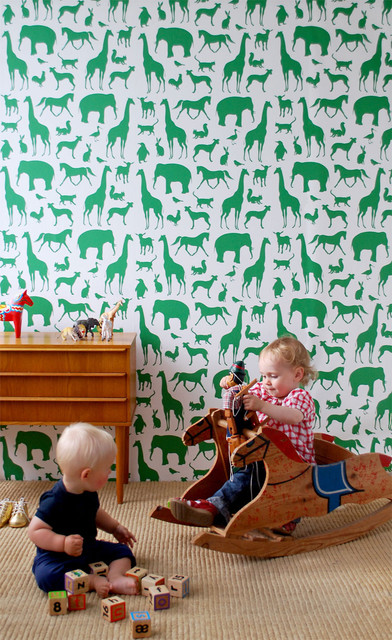 Ferm Living - Animal Farm Wallpaper modern-wallpaper