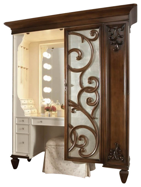 american drew jessica mcclintock couture mink jewelry armoire with stool transitional. Black Bedroom Furniture Sets. Home Design Ideas