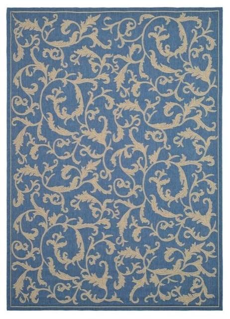 Indoor/ Outdoor Mayaguana Blue/ Natural Rug (9' x 12') contemporary-outdoor-rugs