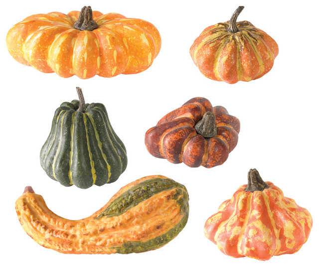 Polyfoam Gourds, Set of 6 traditional-artificial-flowers
