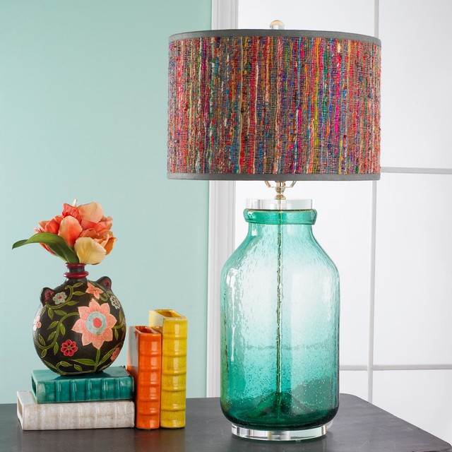 Turquoise Seeded Glass Bottle Lamp Lamp Shades By Shades Of Light