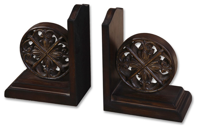 Chakra Distressed Bookends, Set of 2 traditional-bookends