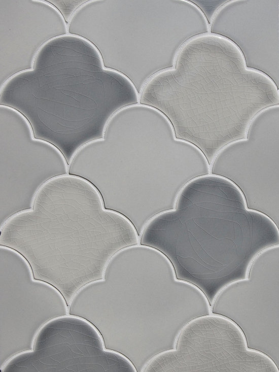 New Releases by Pratt and Larson - New Large scalloped fan tile made by Pratt & Larson. Seen here in various grey watercolor glazes and a satin glaze . Ordering info: