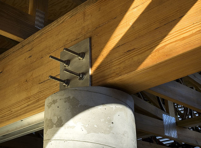 Stainless Connection Wood Glulam Concrete Column