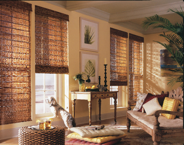 Woven Wood Shades Rustic Roman Raleigh By