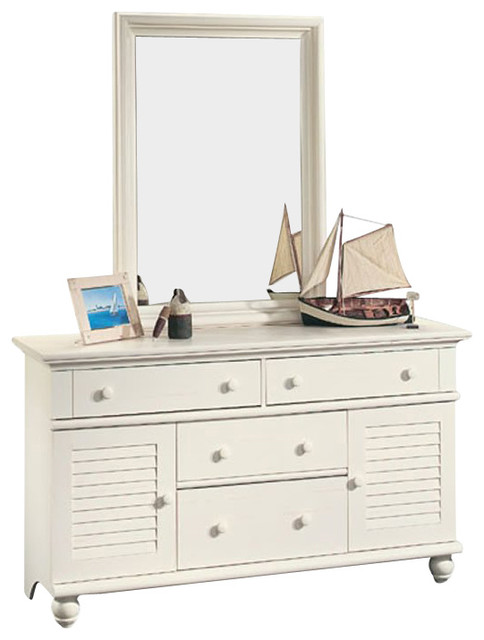 Sauder Harbor View Dresser And Mirror Set In Antiqued White Beach Style Dressers By Cymax