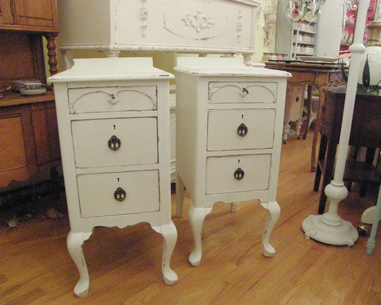 antique nightstands in distressed white shabby chic - these are a great pair of antique nightstands painted white distressed. shabby chic cottage. made from aan old vanity.