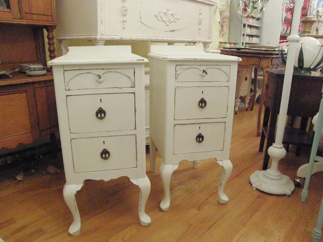 antique nightstands in distressed white shabby chic eclectic nightstands and bedside tables