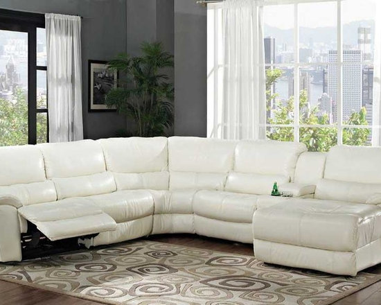 """""""Hamilton"""" Collection White Leather-Match 6-piece Reclining Sectional -"""