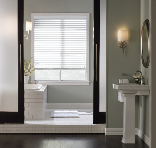 Window treatments for bathrooms levolor 2 faux wood for 2 faux wood window blinds