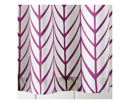 Serena & Lily - Berry Feather Shower Curtain - Our take on timeless herringbone and chevron patterns, printed lines are loosely rendered for that extra design element. Mix or match with our signature bath towels and have fun finding your own fresh combos of patterns and colors.