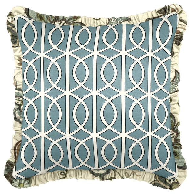 Aqua Modern Trellis Custom Pillow modern-decorative-pillows