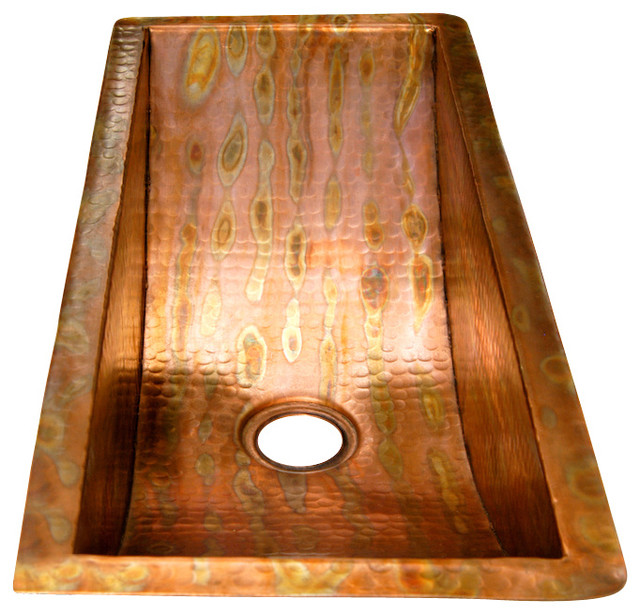 Rectangular Bar Copper Sink - Undermount - Rustic - Bar Sinks - by Artesano Copper Sinks