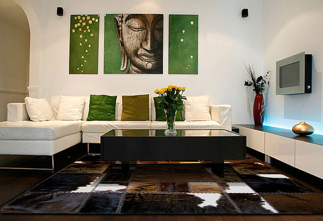 Cowhide patchwork rugs in contemporary home decor modern for Contemporary accessories living room