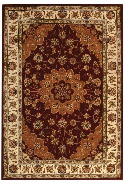 "Traditional Traditions Hallway Runner 2'3""x10' Runner Red - Ivory Area Rug traditional-hall-and-stair-runners"