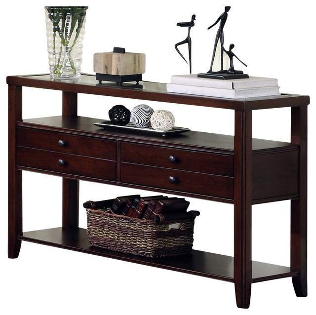Riverside Furniture Avenue Sofa Table in Dark Cherry transitional-console-tables