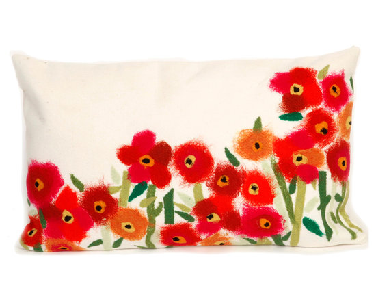 """Trans-Ocean Outdoor Pillows - Trans-Ocean Liora Manne Poppies Red - 12"""" x 20"""" - Designer Liora Manne's newest line of toss pillows are made using a unique, patented Lamontage process combining handmade artistry with high tech processing. The 100% polyester microfibers are intricately structured by hand and then mechanically interlocked by needle-punching to create non-woven textiles that resemble felt. The 100% polyester microfiber results in an extra-soft hand with unsurpassed durability."""