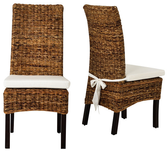 Banana leaf chair with cushion brown tropical chairs