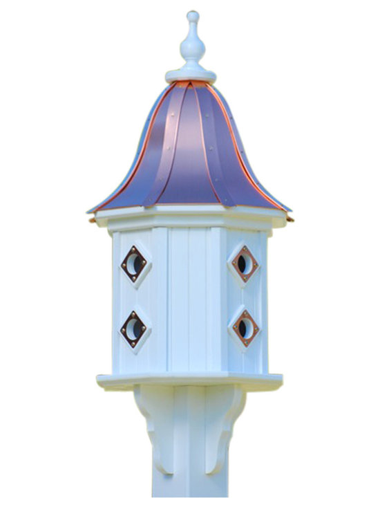 "Dovecote Vinyl Birdhouse-Copper Portals - Dovecote birdhouse adds curb appeal to your place with an impressive 36"" stature from base to finial. Never a worry of rotting, cracking, splitting or fading... guaranteed!"