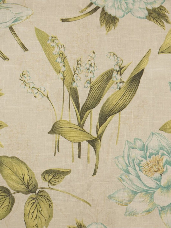 Phoebe Printed Springtime Linen Custom Made Curtains - You will love the expensive look combined with the affordable price for this pure linen curtain. The color combination of green and blue brings a touch of natural beauty and creates a calm and crisp look.