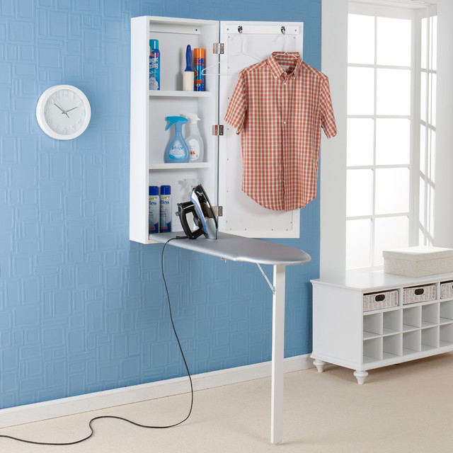 Wall mounted ironing board and storage center contemporary ironing boards by - Ironing board for small spaces decor ...
