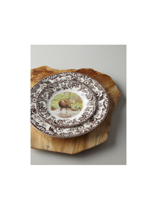 "Spode - Spode ""Woodlands Moose"" Dinnerware - Fine English earthenware features moose as its center motif, framed by the 19th-century pattern you love. Safe for dishwasher, oven, microwave, and freezer. Dinner plates, 10.5""Dia. Salad plates, 8""Dia. Made in the United Kingdom."