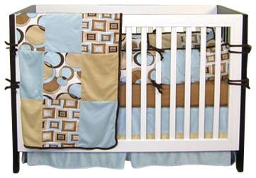 Teal Bubbles - Crib Bedding Set (4-Piece) contemporary-cribs