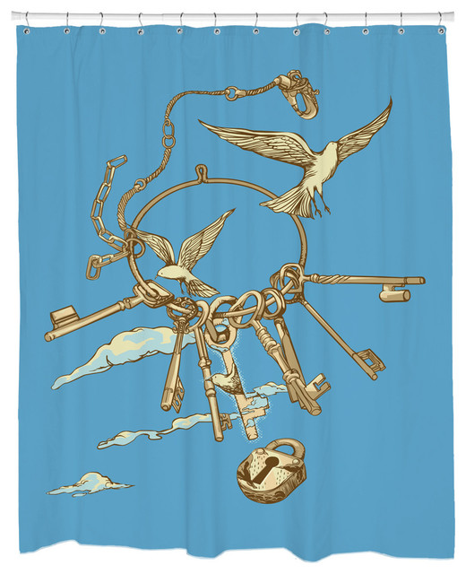 Sharp Shirter Keys of Freedom Shower Curtain eclectic-shower-curtains