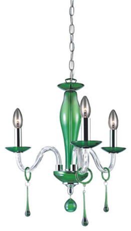 Eurofase Lighting Rottura Chrome and Green Three-Light Chandelier contemporary-chandeliers