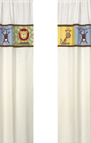 Jungle Time Ivory Window Panels (Set of 2) contemporary-curtains